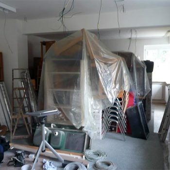 Der Nähraum im 1. OG des Löhehauses in der Umbauphase